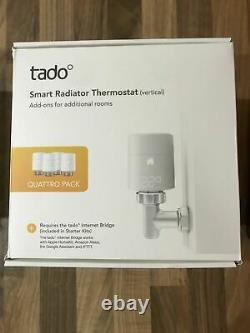 4x tado Vertical Smart Radiator Thermostat Valve TRV (Quattro Pack) Thermostatic