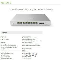 CISCO Meraki Switch & Cloud Managed Bundle MS120-8LP, MR33, MX64 & 2 AU cords