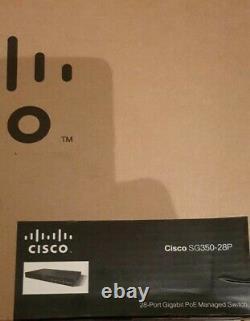 Cisco SG350-28P- UK 28Port Gigabit PoE+ Managed Switch New In Box