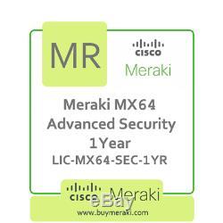Meraki MX64 Advanced Security Lic, 1-Year, 1 Security Appliance LIC-MX64-SEC-1YR
