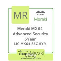 Meraki MX64 Advanced Security Lic, 5-Year, 1 Security Appliance LIC-MX64-SEC-5YR