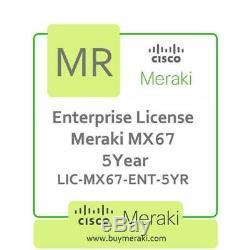 Meraki MX67 Advanced Security Lic, 5-Year, 1 Security Appliance LIC-MX67-SEC-5YR
