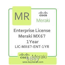 Meraki MX67 Enterprise Edition Lic, 1-Year, 1 Security Appliance LIC-MX67-ENT-1Y