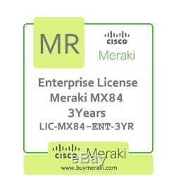 Meraki MX84 Enterprise Edition Lic, 3-Year, 1 Security Appliance LIC-MX84-ENT-3Y