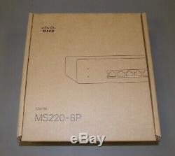 New Cisco Meraki MS220-8P-HW POE+ Switch