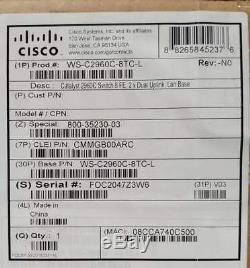 New sealed Cisco WS-C2960C-8TC-L Cisco Catalyst 2960 8 Port Data Lan Base Switch