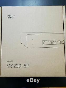 Unclaimed Cisco Meraki MS220-8P Cloud Managed Switch 8-Port Gigabit PoE 8x 1GbE